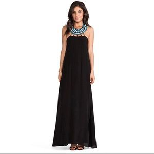 Karina Grimaldi Black Silk Maxi Dress Small